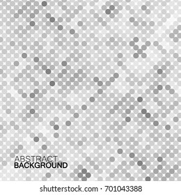 Abstract geometric background with gray circles. Halftone effect. Vector illustration. Eps 10