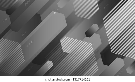 Abstract geometric background, grayscale futuristic vector graphic
