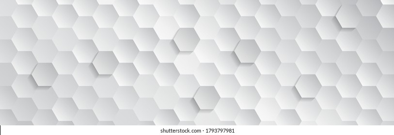 Abstract geometric background with hexagons. Polygonal shape light and shadow effect on the grey background