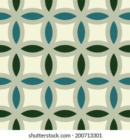 Abstract geometric background, modern seamless pattern, retro style creative ornament, green vector wallpaper, wrapping paper, 1950s, 1960s, 1970s fashion style, template, layout for design