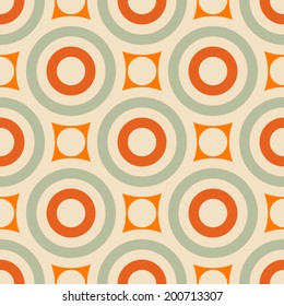 Abstract geometric background, modern seamless pattern, retro style creative ornament, colorful vector wallpaper, wrapping paper, 1950s, 1960s, 1970s fashion style, template, layout for design