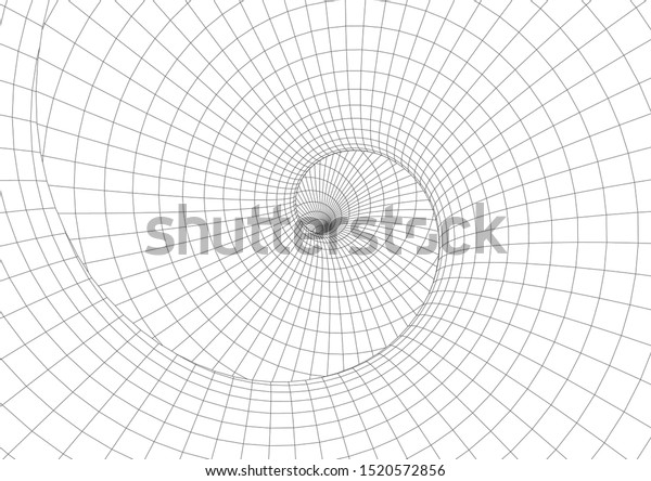 Abstract geometric background. Optical illusion of spiral motion. 3D modeling of objects.