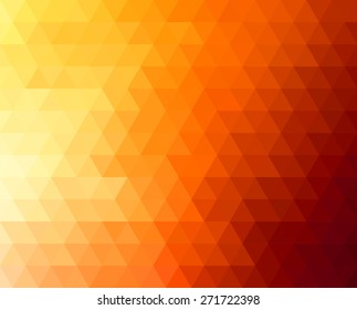 Abstract geometric background with orange and yellow triangles. Vector illustration Summer sunny design.