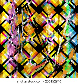 abstract geometric background pattern, with squares, strokes and splashes, retro/vintage style