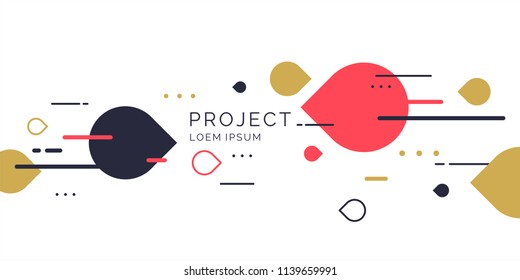 Abstract geometric background. The poster with the flat figures. Vector illustration.