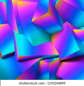 Abstract geometric background with realistic overlapping vibrant purple and blue cubes