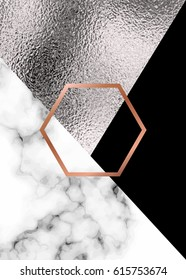 Abstract geometric background with silver, marble texture and copper hexagon.