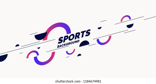 Abstract geometric background. Sports poster with the flat figures. Vector illustration.