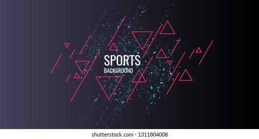 Abstract geometric background. Sports poster with the modern style. Vector illustration.