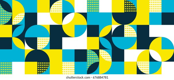 Abstract geometric background with squares,triangles, rounds and crosses a 3D effect. Colorful modern pattern
