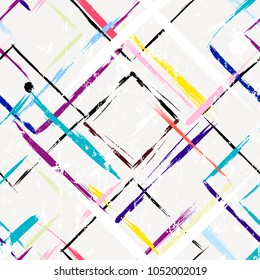 abstract geometric background, with strokes and splashes, square pattern, seamless