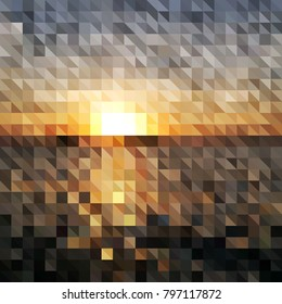Abstract geometric background - sunrise, low poly style