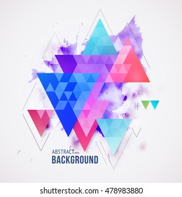 Abstract geometric background. Triangle colorful composition with grunge texture. Eps10 Vector illustration