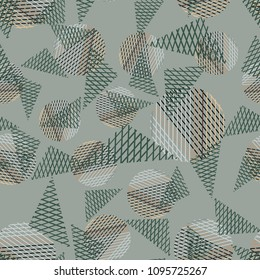Abstract geometric background with triangles, lines, circles.