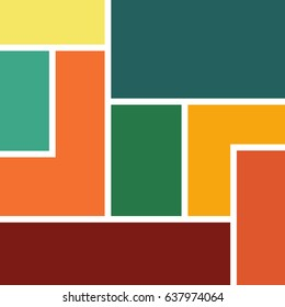 Abstract geometric background vector design formed by colorful rectangles and rectangular shapes with white lines between them orange pink dark red turquoise teal beige
