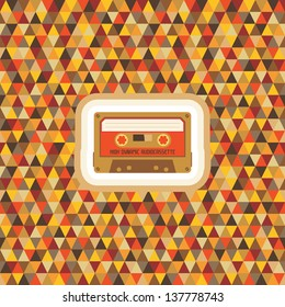 Abstract geometric background - vector seamless pattern with audiocassette. Hipster vintage retro style.