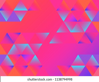 Abstract geometric background in vibrant and feminine colorful shades. Neon vivid gradients. Perfect for exciting web designs, banners and social networks graphic.