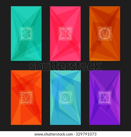 fbd3bb75b118df Abstract geometric backgrounds with monograms. Letters S-X. Collection of  trendy geometric triangular backgrounds with letter monograms S, T, U, V,  W, ...