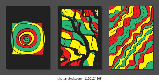 Abstract Geometric Backgrounds with Wavy Lines. Cover Design Templates Set in Cubism Style. Rastaman Music Posters. Vector Wavy Stripe and Ethnic Design Elements. Bright Psychedelic Abstract Covers.
