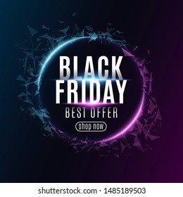 Abstract geometric banner for Black Friday sale. Glowing plexus triangles. Modern design for your business. Glowing text. Vector illustration. EPS 10