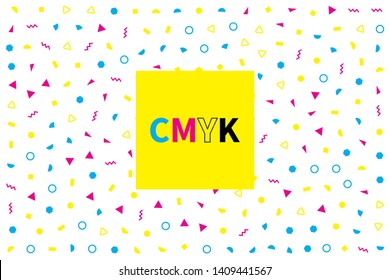 Abstract geometric banner with cmyk colors. Background for typography, printing house. Vector ornament