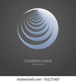 Abstract geometric banner label Form of round spiral Logo for company business company business cards Template emblem of corporate identity Design element icon on dark background Isolate logo Vector