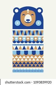 Abstract geometric bear. Scandinavian and folk design. Poster. Vector Illustration.