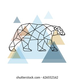Abstract geometric bear. Scandinavian style. Vector illustration.