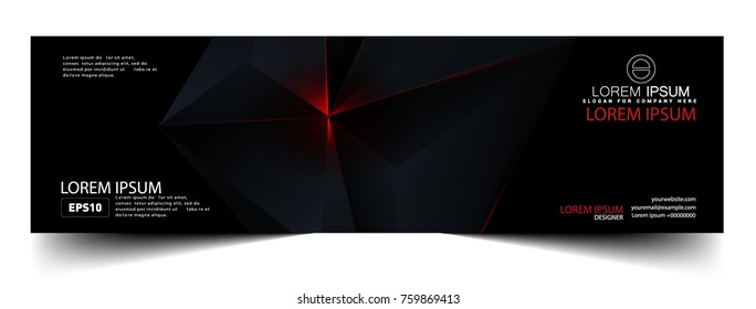Abstract geometric black and red color technology modern futuristic flayer, vector illustration.