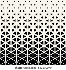 Abstract geometric black and white deco art print halftone triangle pattern