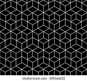 Abstract geometric black and white graphic design print 3d cubes pattern