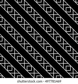Abstract geometric black and white hipster fashion pillow boho pattern