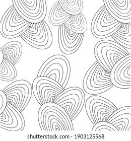 Abstract geometric black and white vector wallpaper background. Visual illusion spiral swirl graphic simple art.