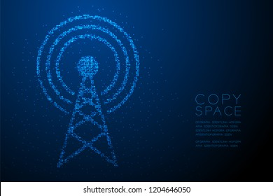 Abstract Geometric Bokeh circle dot pixel pattern Antenna tower shape, Broadcast telecommunication concept design blue color illustration isolated on blue gradient background with copy space, vector