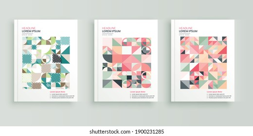 Abstract, Geometric book cover flyer designs set.
