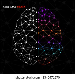 Abstract geometric brain of left and right hemisphere, network connections