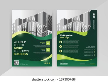 Abstract Geometric Business vector template for Brochure, Annual Report, Magazine, Poster, Corporate Presentation, Portfolio, Flyer, Market, infographic with green color size A4, front and back