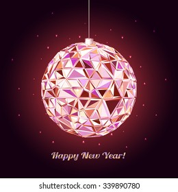 Abstract Geometric christmas ball. 3D polygonal vector illustration. light effect
