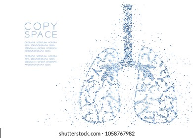 Abstract Geometric Circle dot pattern Lung shape, Medical Science Organ concept design blue color illustration isolated on white background with copy space, vector eps 10