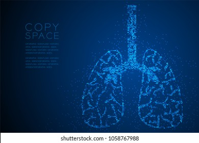 Abstract Geometric Circle dot pattern Lung shape, Medical Science Organ concept design blue color illustration isolated on blue gradient background with copy space, vector eps 10