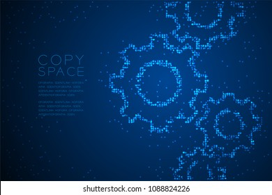 Abstract Geometric Circle dot pattern Engineering Gear shape, teamwork system concept design blue color illustration isolated on blue gradient background with copy space, vector eps 10