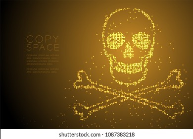Abstract Geometric Circle dot pixel pattern Skull and crossbones shape, dangerous concept design gold color illustration isolated on brown gradient background with copy space, vector eps 10