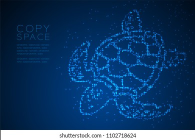 Abstract Geometric Circle dot pixel pattern Sea Turtle shape, aquatic and marine life concept design blue color illustration isolated on blue gradient background with copy space, vector eps 10
