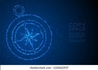 Abstract Geometric Circle dot pixel pattern Compass shape, travel concept design blue color illustration isolated on blue gradient background with copy space, vector eps 10