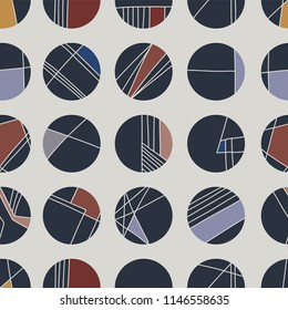 Abstract Geometric Circle Grid, Vector Pattern Seamless Background, Hand Drawn Circles Lines Illustration for Trendy Home Decor, Masculine Fashion Prints, Wallpaper, Textiles, Brown Pink Stationery