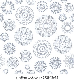 Abstract geometric circles pattern. Vector seamless floral background.