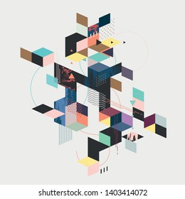 Abstract Geometric Color Composition. Isometric style