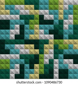 Abstract geometric colorful background, Tetris game, Brick pieces, Seamless pattern, Vector illustration. 3d texture. Green, blue, gray