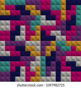 Abstract geometric colorful background, Tetris game, Brick pieces, Seamless pattern, Vector illustration. 3d texture. Pink, green, blue, gray.