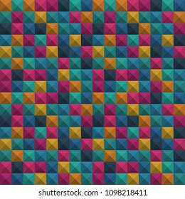 Abstract geometric colorful background, Tetris game, Brick pieces, Seamless pattern, Vector illustration. 3d texture. Brown, green, orayge, purple, blue.